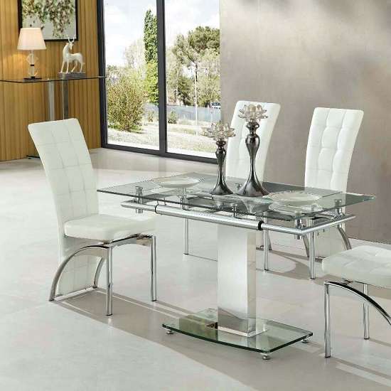 Enke Extending Dining Table In Clear Glass And Chrome Frame_1