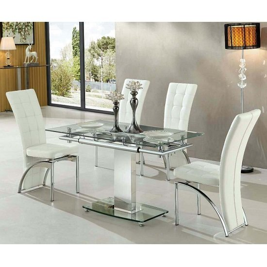 Cheap Glass Dining Room Sets: Enke Extending Glass Dining Table With 4 Ravenna White