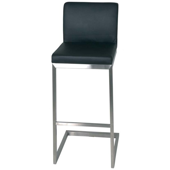 Enzo High Bar Stool In Black Real Leather