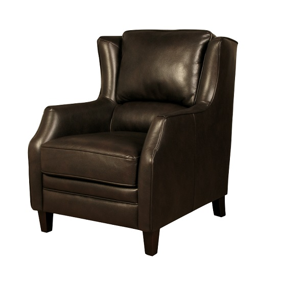 Halton Sofa Chair In Brown Leather Look Fabric With Wooden Legs