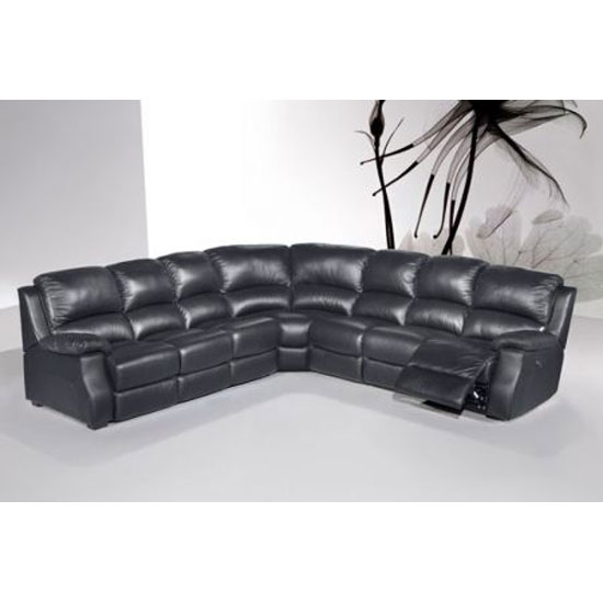 Esprit Black Leather Corner Sofa with Electric Recliner&Sofabed