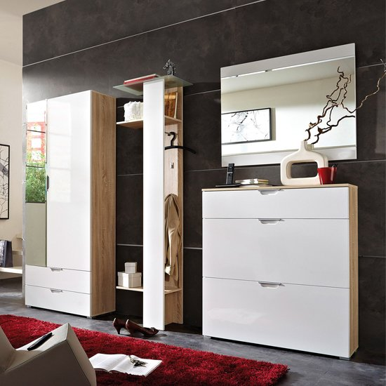 Read more about Eva contemporary hallway furniture in gloss white canadian oak