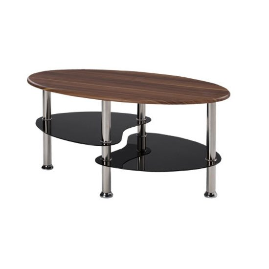 Stuman walnut effect coffee table with black glass shelves for Buy black coffee table