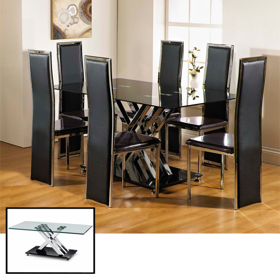 CLEARANCE Excelsior Rectangle Glass Dining Table And 6 Chairs