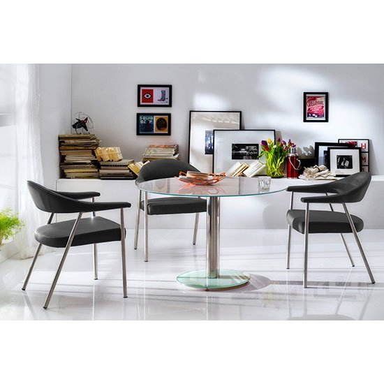 Falko Frosted Glass Top Round Dining Table With 4 Aurelia