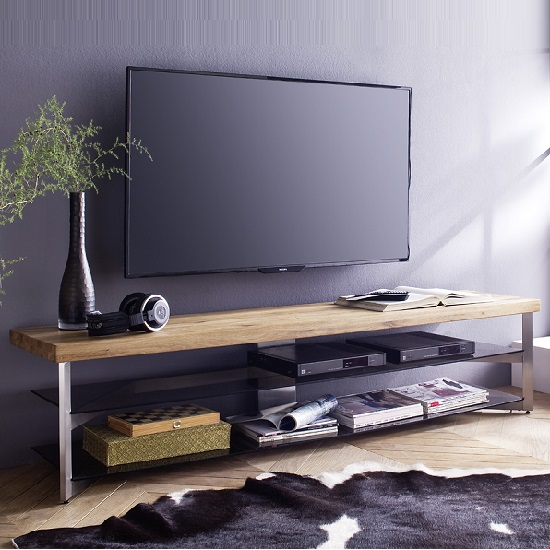 Marcos Small TV Stand In Solid Oak Top And Grey Glass