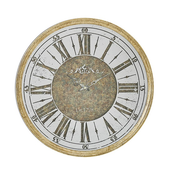 Emma Vintage Wall Clock In Champagne Finish