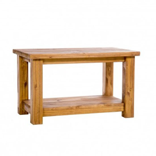 Farmerhouse Rough Sawn Aged Waxed Pine Coffee Table With Shelf Wooden Coffee Table Storage