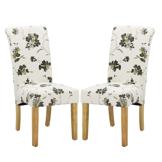 FREYA ANGLE SHOT LPD - Freda Dining Chair In Floral Fabric with oak legs