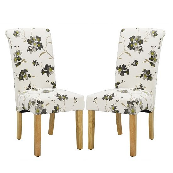 Freda Dining Chair In Floral Fabric with oak legs