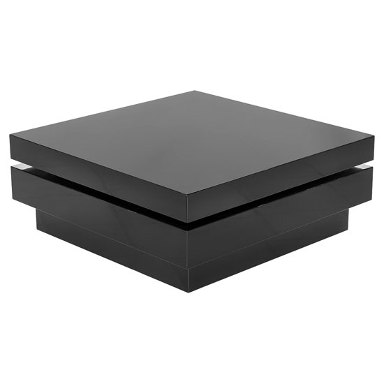 Plinsky Square Rotating Modern Coffee Table In Black High Gloss
