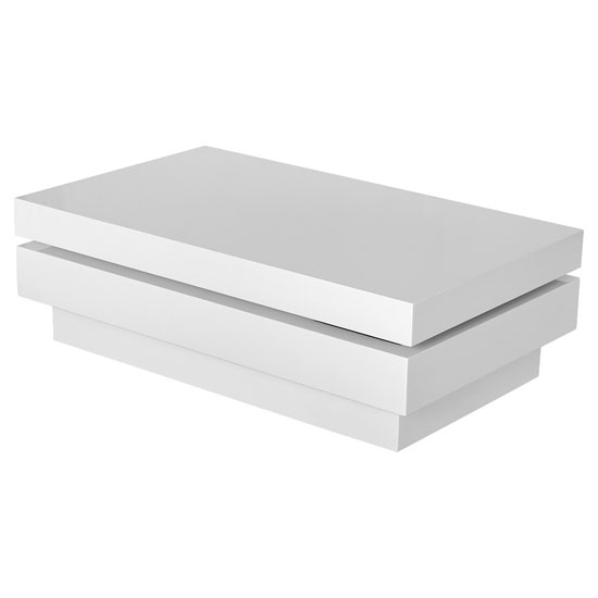 Isala Rectangular Rotating Coffee Table In White High Gloss