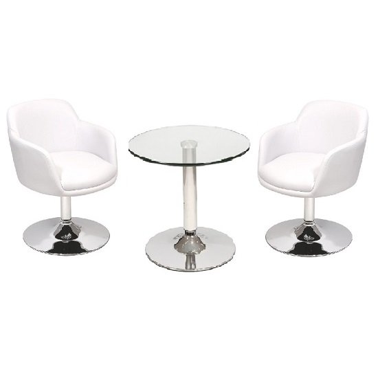 Belize Bistro Table In Clear Glass And 2 White Bucketeer Chairs