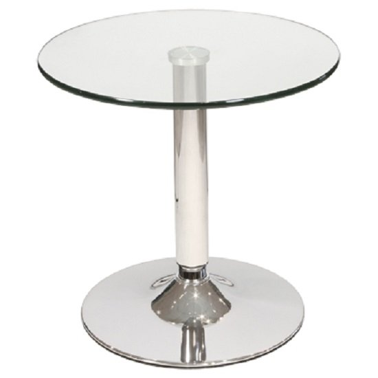 Belize Bistro Side Table In Clear Glass With Chrome Base