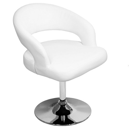 Clinick Bistro Chair In White Faux Leather With Chrome Legs