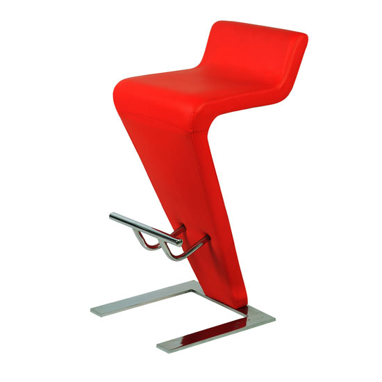 Farello Bar Stool In Red Faux Leather With Chrome Base