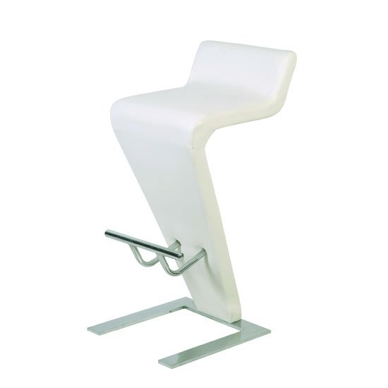 Farello Bar Stool In White Faux Leather With Chrome Base