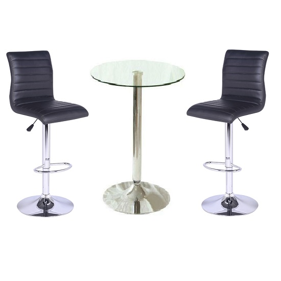 Photo of Gino bar table in clear glass with 2 ripple black bar stools