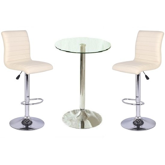 21688-Gino Bar Table In Clear Glass And 2 Ripple Bar Stools