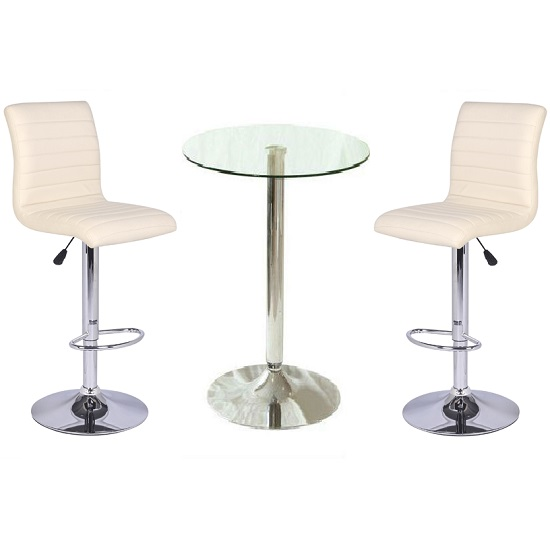Glass Bar Stools: 21688-Gino Bar Table In Clear Glass And 2 Ripple Bar Stools