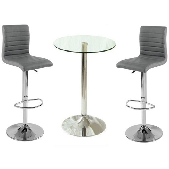 Photo of Gino clear glass bar table and 2 ripple charcoal grey bar stools