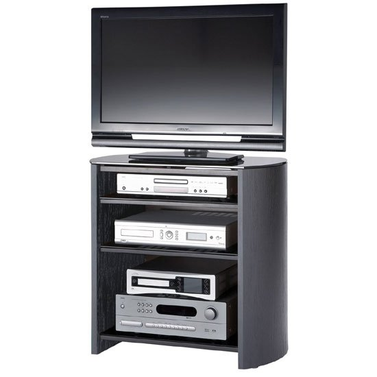 Black Oak Veneer LCD TV Stand With 4 Shelves
