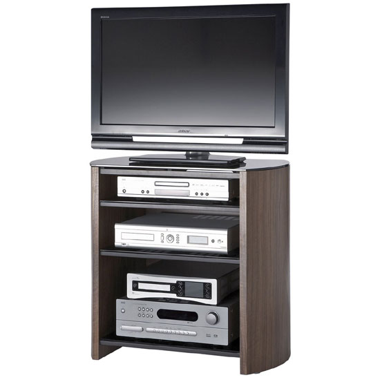 Walnut Veneer LCD TV Stand With 4 Shelves