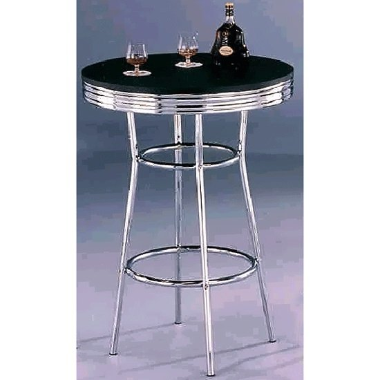 Retro Bar Table Round In Black Glass With Chrome Frame