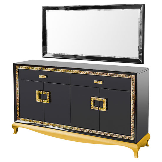 Frenzi Sideboard With Mirror In Black Gloss And Diamanté Jewels