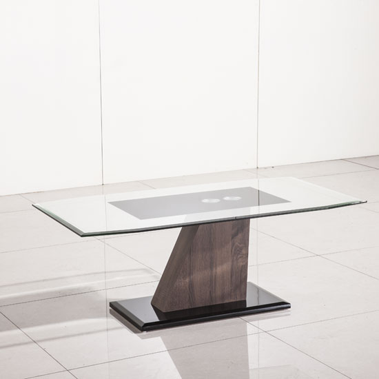 Fabrize Glass Coffee Table With Walnut And Black Gloss