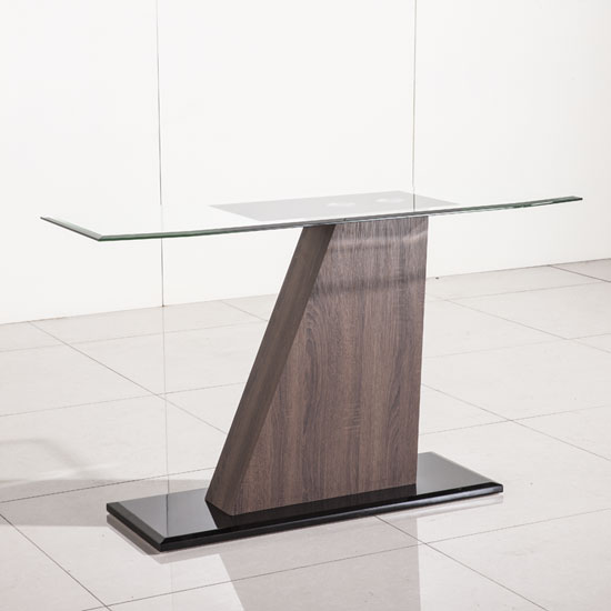 Fabrize Console Table In Glass Top With Walnut And Black Gloss