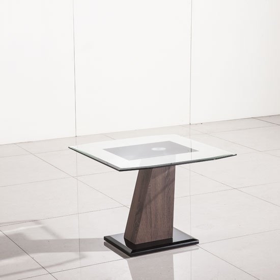 fabrize lamp table in glass top with walnut and black gloss base p