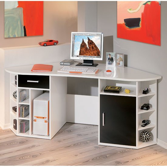 fabri wooden corner computer desk in white with black door. Black Bedroom Furniture Sets. Home Design Ideas