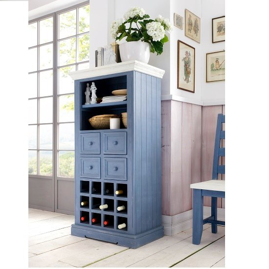 Falcon Wine Display Cabinet In Pine Wood Blue And White