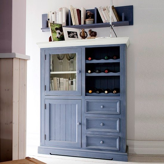 Falcon Wine Highboard In Pine Wood Blue And White