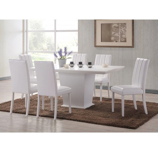 Axara Extendable Dining Table In White With 6 Summer Grey