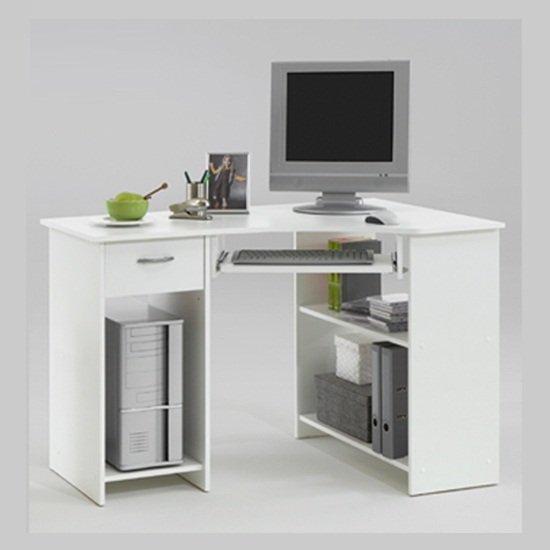 View Felix home office wooden corner computer desk in white