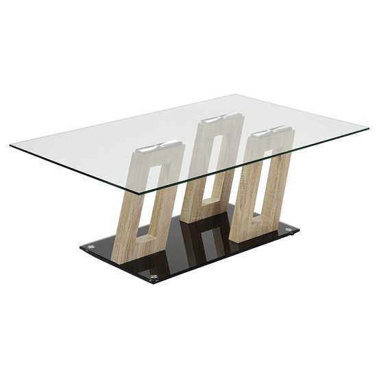 Ferris Sonoma Oak Clear Glass Top Coffee Table With Glass Base_1