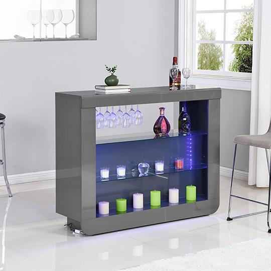 Fiesta Bar Table Unit In High Gloss Grey With LED Lights_2