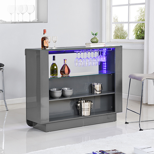 Fiesta Bar Table Unit In High Gloss Grey With LED Lights_3