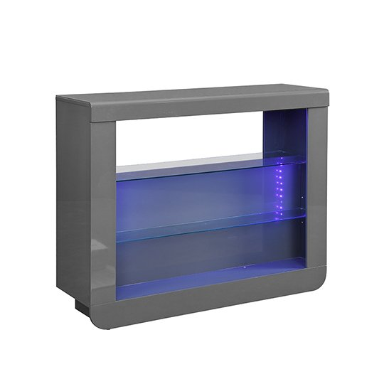 Fiesta Bar Table Unit In High Gloss Grey With LED Lights_4