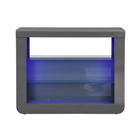 Fiesta Bar Table Unit In High Gloss Grey With LED Lights_5