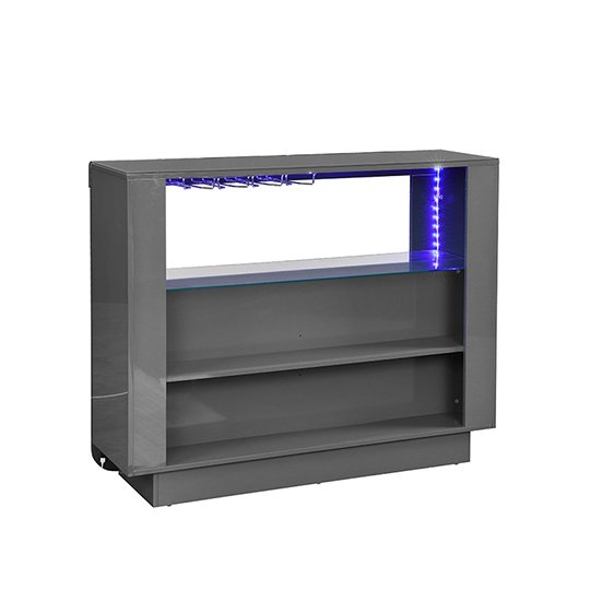 Fiesta Bar Table Unit In High Gloss Grey With LED Lights_6