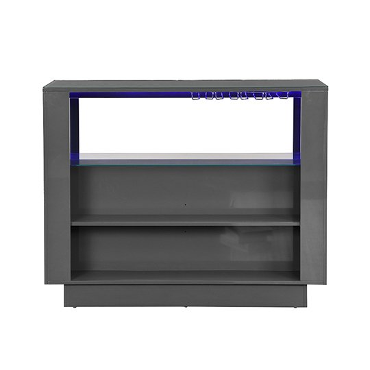Fiesta Bar Table Unit In High Gloss Grey With LED Lights_7