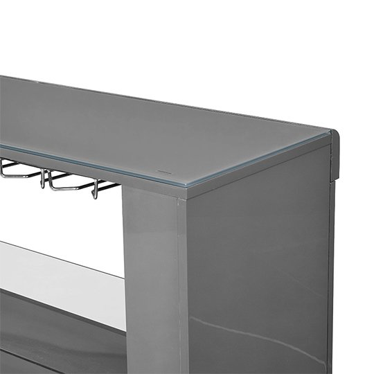 Fiesta Bar Table Unit In High Gloss Grey With LED Lights_9