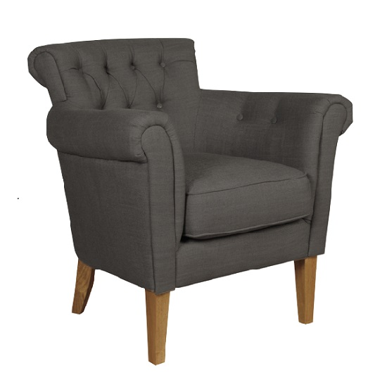 Finley Armchair In Charcoal Fabric With Wooden Legs