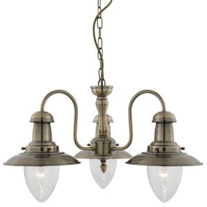 Fisherman 3 Lamp Antique Brass Ceiling Pendant With Seeded Glass