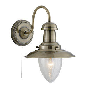 Fisherman 1 Light Antique Brass Wall Lamp
