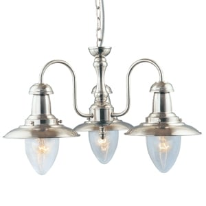 Fisherman 3 Lamp Satin Silver Ceiling Pendant With Seeded Glass