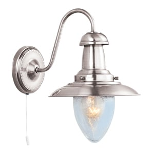 Fisherman 1 Light Satin Silver Wall Lamp